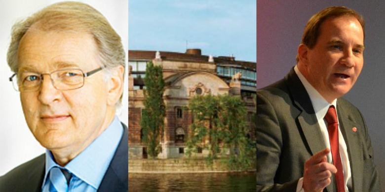 Hans Karlsson, riksdagshuset och Stefan Löfven. Bild: Flickr