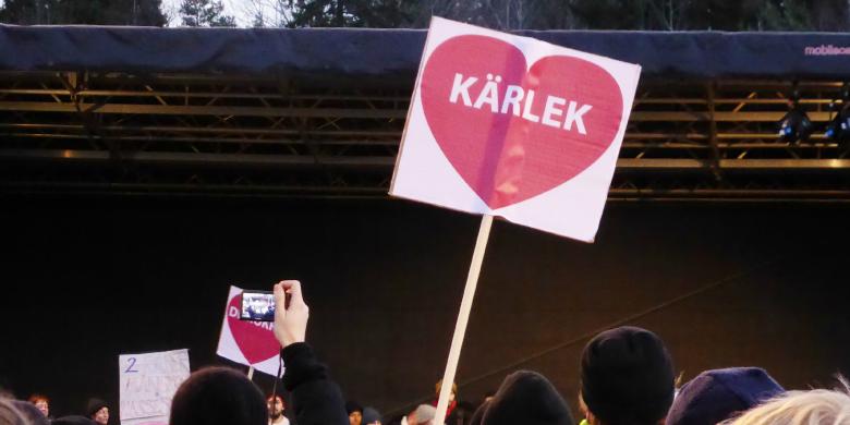 Manifestationen mot rasism i Kärrtorp december 2013. BILD: Helen Ohlsson