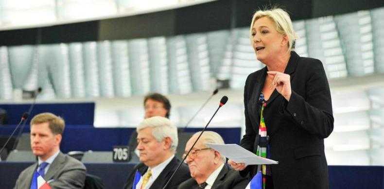 Franska Front National, lett av Marine Le Pen, går kraftigt framåt i mätningar inför EU-valet. Bild: Europaparlamentet