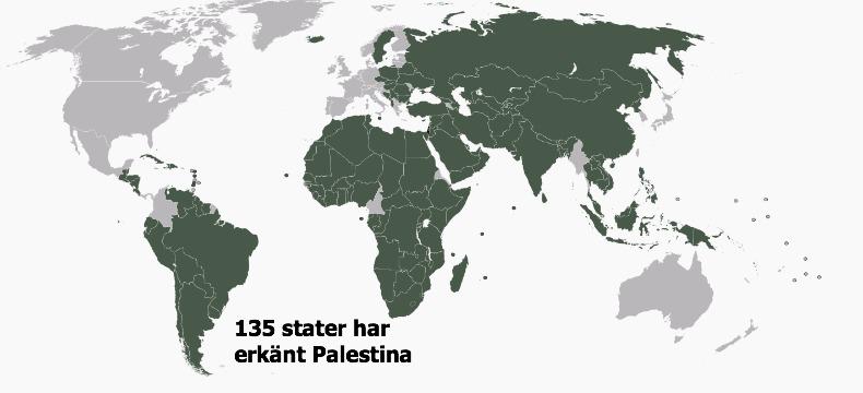Länder som erkänt Palestina