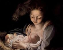 Detalj ur Den heliga natten av Antonio da Correggio.