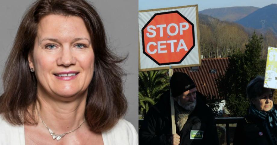 Ann Linde, EU-och handelsminister. Till höger:protester mot Ceta-avtalet. Bild: Regeringen/Angula Berria/Flickr
