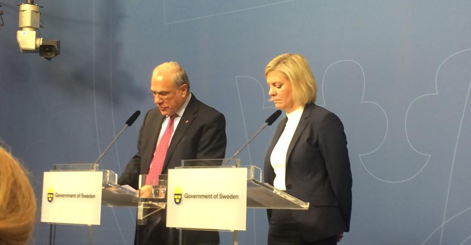 Angel Gurría, OECD och finansminister Magdalena Andersson (S). Bild: Dagens Arena