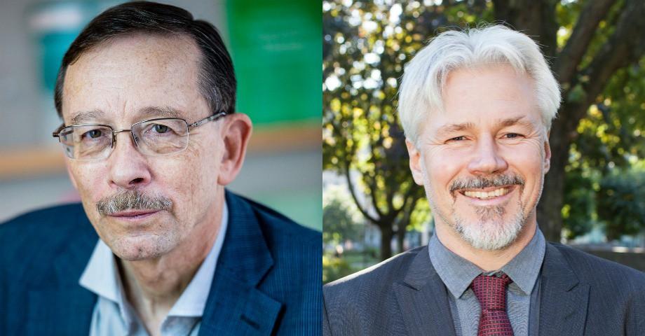 Lars Calmfors, professor i nationalekonomi tv. Torbjörn Johansson avtalssekreterare, LO th.