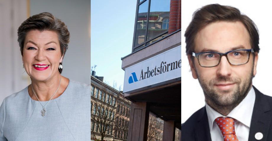 Ylva Johansson (S) tv. Fredrik Malm (L)  th.