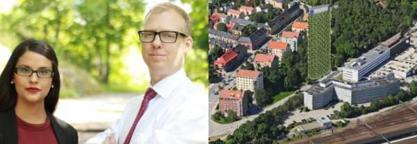 Sara Kukka-Salam, Arne Öberg, båda oppositionsråd (S) i Solna, Dalvägen Solna: Här vill S bygga ettT-torn Dalvägen,