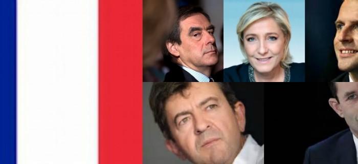 Franska kandiidater Fillon, Le Pen, Macron, Mélenchon, Hamon