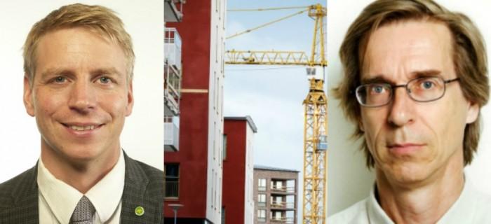 Finansmarknadsminister Per Bolund och bostadsforskaren Hans Lind. Bild t h: Bokriskommittén