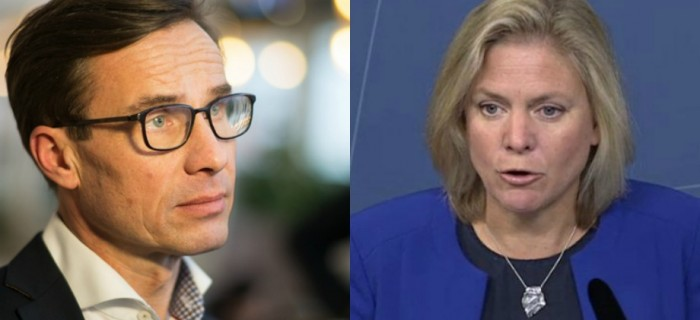 Ulf Kristersson, Moderaterna och finansminister Magdalena Andersson (S). Bild t v: Fredrik Wennerlund.