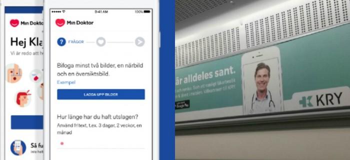 Min Doktors app och reklam för Kry i Stockholms kollektivtrafik.