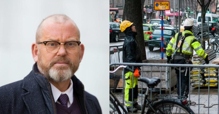 T.v: Johan Lindholm, ordförande för Byggnads.