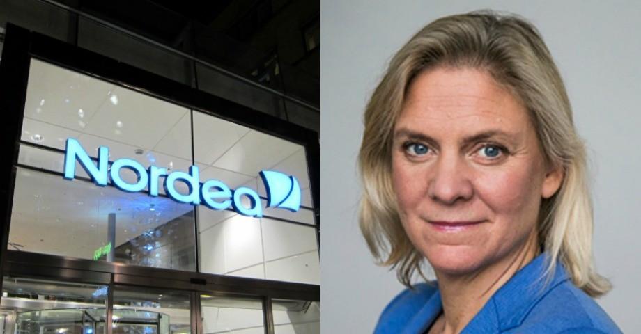 Nordea, finansminister Magdalena Andersson (S).