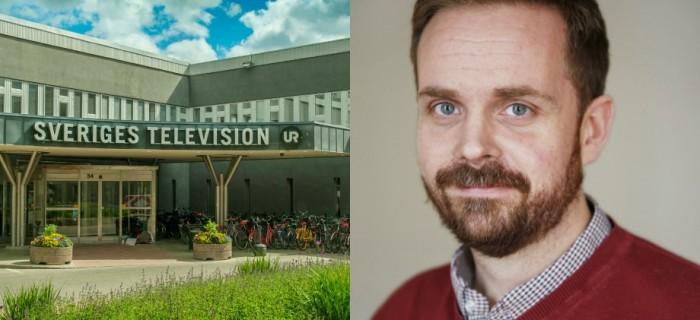 SVT-entré Stockholm. Bild: Anders Strömquist/SVT. T.h: Johan Lif, SJF.