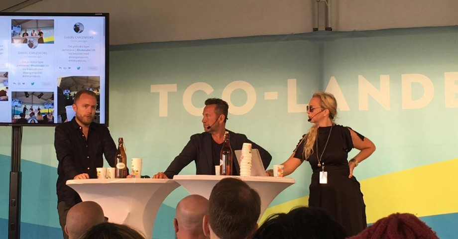 Viktor Barth-Kron, Sandro Scocco och Jenny Lindahl livepoddar i Almedalen.