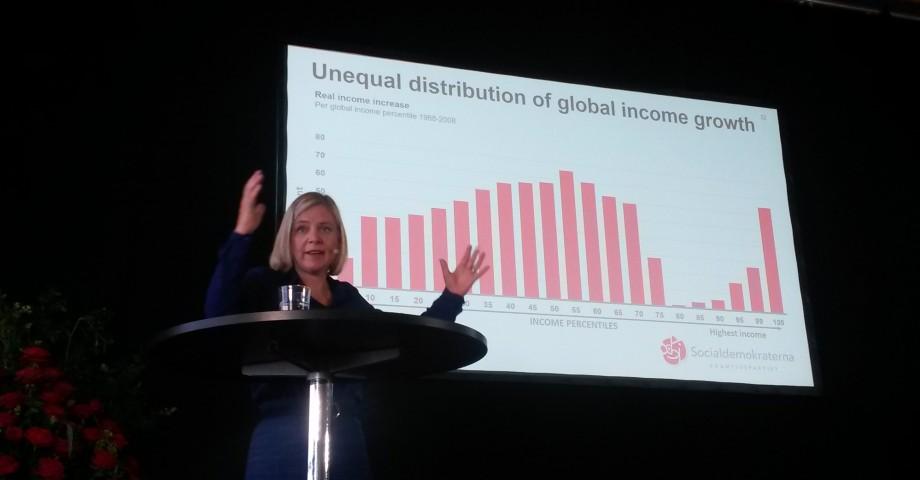 Magdalena Andersson under sin dragning om ökande inkomstklyftor.