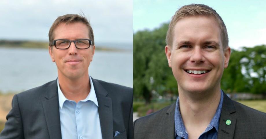 Marcus Strömberg, vd Academedia och utbildningsminister Gustav Fridolin (MP). Bilder: Academedia/Flickr och Jenny Lindahl.