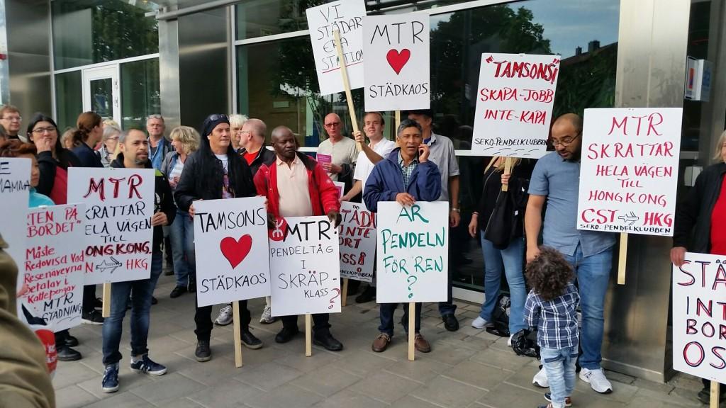 Sekos protest vid trafiknämndens möte på SL:s kontor.