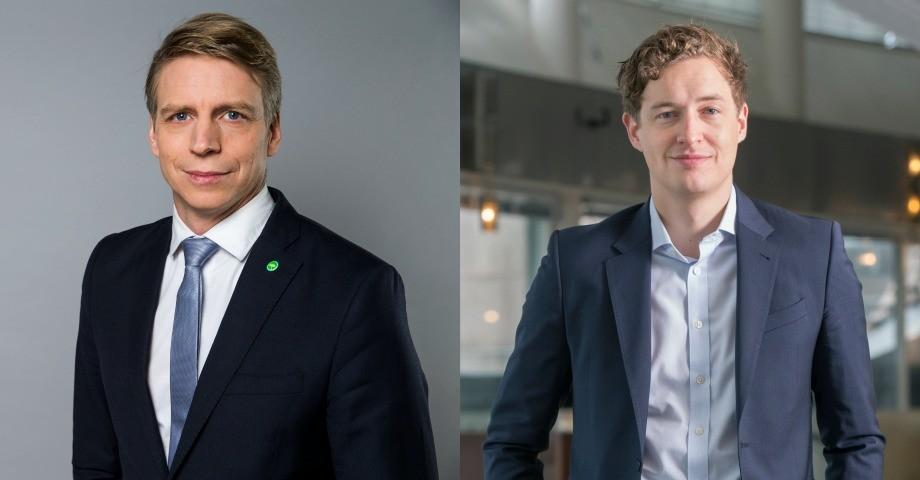 Per Bolund (tv), Emil Källström (th). Foto: Kristian Pohl/Regeringskansliet, Johan Jeppsson/Centerpartiet