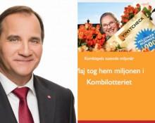 Stefan Löfven, t.v. och skärmdump från Kombispels hemsida t.h.