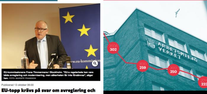 Skärmdump från Byggnadsarbetaren och Dagens Arbete.