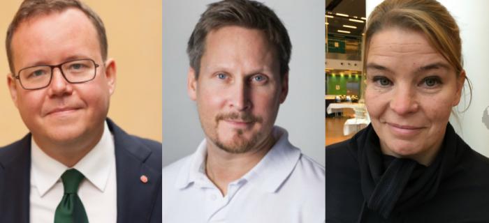 Olle Burell (S), skolborgarråd, Johan Törnroth, Lärarförbundet och Maja Karlsson, förstelärare på Kvarnbyskolan.