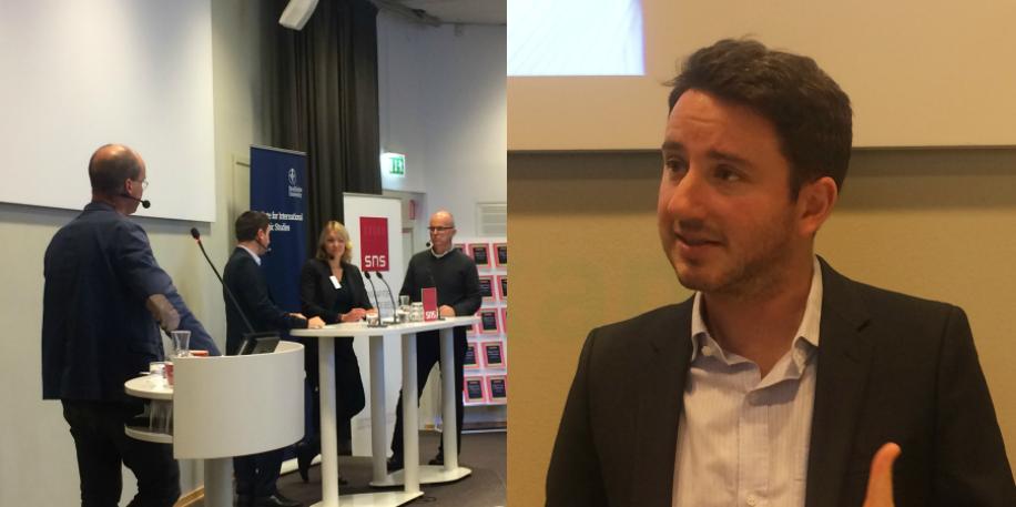 Gabriel Zucman t.h. I bild till vänster även Mikael Witterblad, Åsa Hansson och Per Krusell.