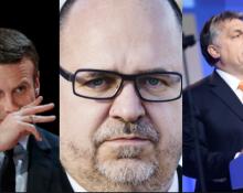 Frankrikes president Macron, LO:s Karl-Petter Throwaldsson och Ungerns Viktor Organ deltar i gruppsamtal ihop. Bild t.v : Jesu Carneiro/Flickr