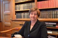 Silvia Fernández de Gurmendi, president för ICC i Svenska Advokatsamfundets lokaler. Bild: Elsa Persson