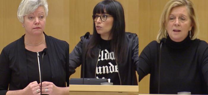 Fr v: Annika Qarlsson (C), Rossana Dinamarca (V) och Maria Arnholm (L) under morgonens debatt.