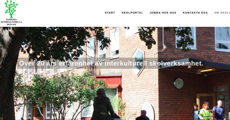Skärmdump från skolans hemsida.
