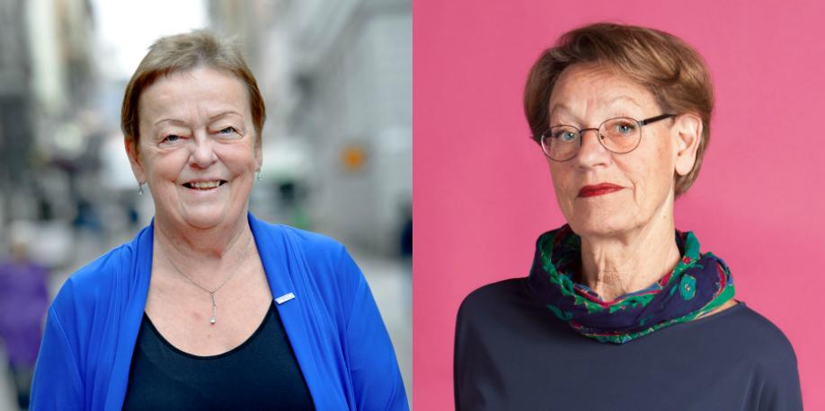 Christina Tallberg, PRO och Gudrun Schyman, Fi.