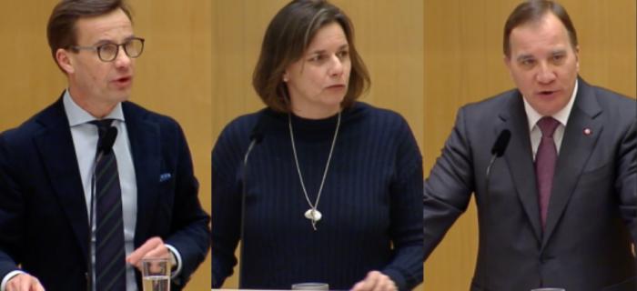 Ulf Kristersson (M), Isabella Lövin (MP) och Stefan Löfven (S).