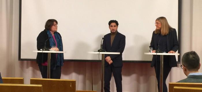 Ann-Charlotte Hammar Johansson (M), Ardalan Shekarabi (S), Therese Guovelin.
