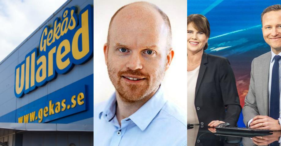 Varuhuset Gekås, Jimmy Ahlstrand/SVT och Aktuellts nyhetsankare. Bilder: Håkan Dahlström/Flickr och SVT.