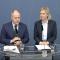 Justitieminister Morgan Johansson (S) och finansminister Magdalena Andersson (S) under pressträffen.