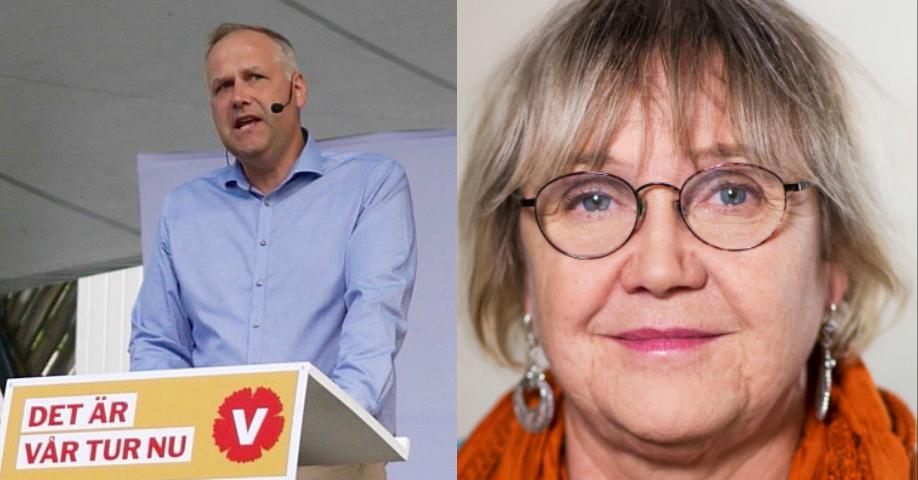 Jonas Sjöstedt och Ann-Margareth Livh, Vänsterpartiet. Bild t.v: Jenny Lindahl