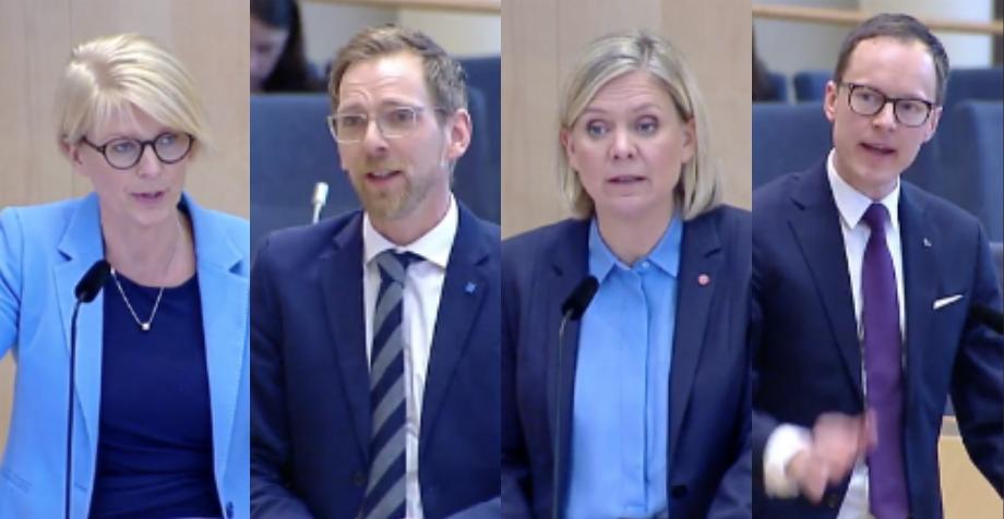 Elisabeth Svantesson (M), Jakob Forssmed (KD), Magdalena Andersson (S) och Mats Persson (L) under budgetdebatten.