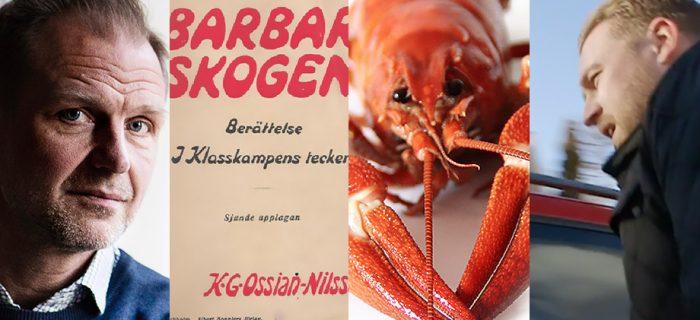 Porträttbild på chefredaktör Jonas Nordling, boken Barbarskogen, en kräfta och Mattias Karlsson (SD)