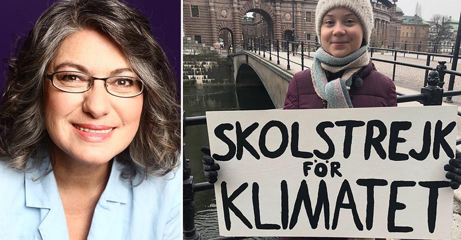 Greta Thunberg framför riksdagshuset med skylten Skolstrejk för klimatet och en porträttbild på psykologen Liria Ortiz