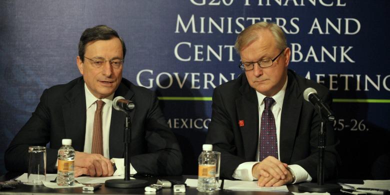 Snart ännu mäktigare? ECB-chefen Mario Draghi och EU:s ekonomikommissionär Olli Rehn. Bild: EC Audiovisual Service