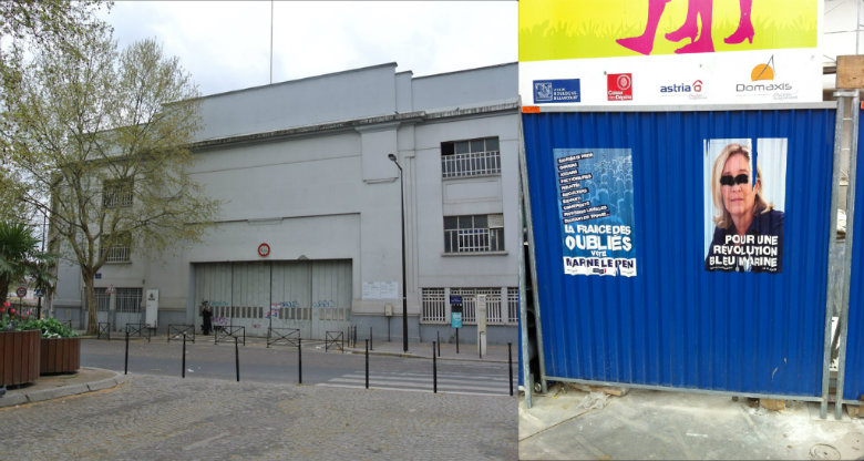 Huvudporten till Renaultfabriken och affisch för Marine Le Pen. Bild: Anders Fogelström