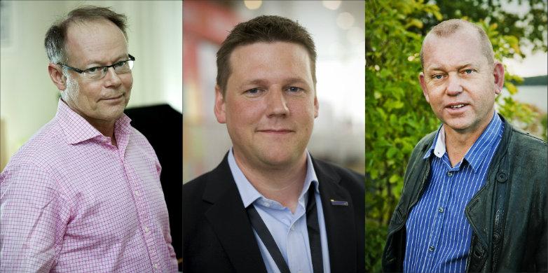 Janne Rudén, Tobias Baudin och Johan Lindholm. Bild: Urban Orzolek, Kommunal, Knut Koivisto