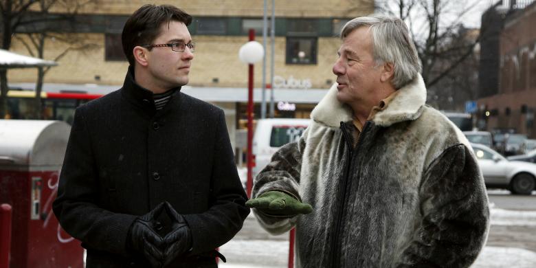 Jimmie Åkesson och Jan Guillou i Gävle 2009. BILD: Lotte Fernvall/Aftonbladet/IBL