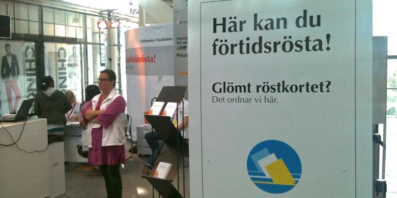 Förtidsröstning i Globen 17 maj 2014. Foto: Örjan Benzinger