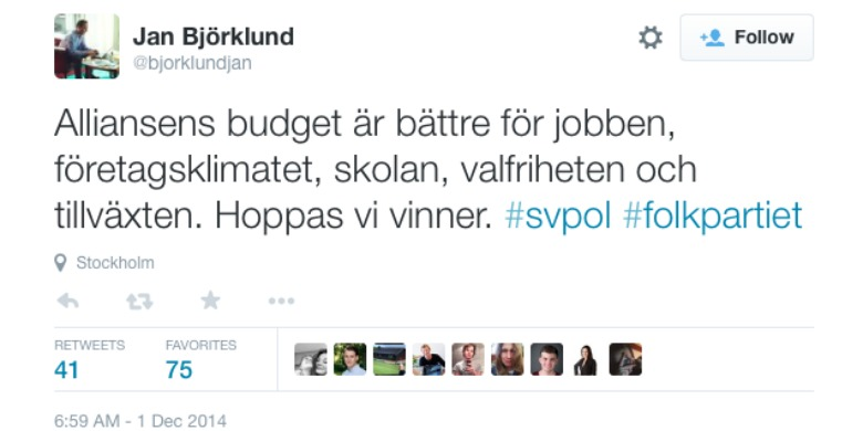 Foto: Skärmdump Jan Björklunds twitterkonto