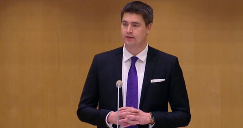 Skärmdump Riksdagens livesändning budgetdebatt 3 dec 2014.