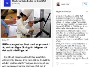 Bild: Skärmdump Annie Lööfs instagram.