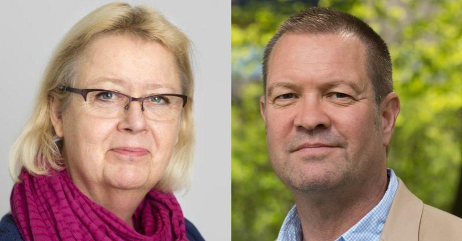 Gunilla Roxby Cromvall (V), gruppledare Stockholms läns landsting Håkan Jörnehed (V), landstingsråd i opposition