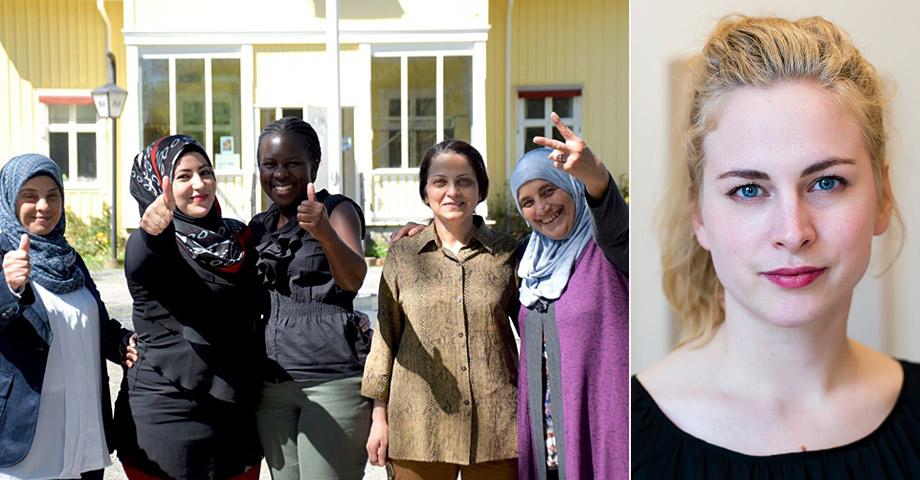 Kvinnor som deltagit i Individuell Människohjälps kvinnogrupp i Vrigstad och en porträttbild på Clara Berglund, Sveriges Kvinnolobbys generalsekreterare