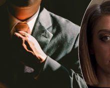 Kostymklädd man som rättar till slipsen och porträttbild på Fanny Nilsson